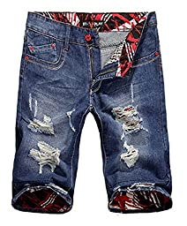 Men\'s Ripped Washed Slim Fit Denim Shorts A Blue 30