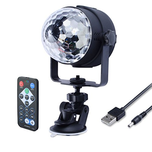WOWTOU Remote Mini Disco Lights, RGB LED Crystal Magic Ball with Sound Activated Strobe Effect and Rotating Party Light Show for Dance Floor Night Club DJ Stage Lighting, USB Powered (Black)