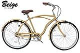 BC (ベージュ)大人気 26インチ ビーチクルーザー 高級 サドル 極太タイヤ使用 26インチ 自転車 ランキングお取り寄せ
