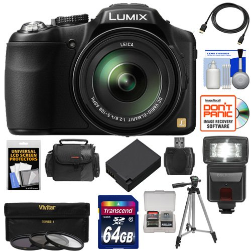 Panasonic Lumix DMC-FZ200 Digital Camera (Black) with 64GB Card + Case + Battery + Flash + 3 UV/CPL/ND8 Filters + Tripod + HDMI Cable + Accessory Kit (Panasonic Sdxc 64gb compare prices)