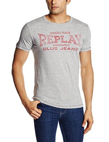 Replay -  T-shirt - Collo a U  - Maniche corte - Uomo Grigio grigio
