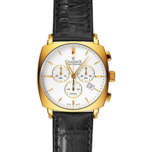 Charmex Vintage 2420 40x40mm Gold Plated Stainless Steel Case Black Calfskin Synthetic Sapphire Men's Watch