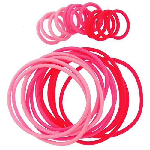 Girlprops 12 Rubber Jelly Bracelets with 12 Rings, in Pink