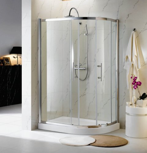 760x900mm Tall Glass Quadrant Shower Enclosure with High Tray