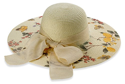 Debra Weitzner Women's Elegant Straw Floppy Hat Beach Sun Hat Floral Brim (Pink Pork Pie Hat compare prices)