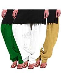 Women's Green White-Beige Cotton Patiala Salwar