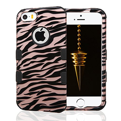 iPhone SE Case, iPhone 5 and 5S Case, JoJoGoldStar TUFF Hybrid, Slim Fit Polycarbonate and Silicone TPU Cover with Stylus and Screen Protector - Rose Gold Zebra Stripes (Cute Animal Pics compare prices)