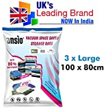 Vacuum Compressed Space Saver Storage Bags Set of 3 Large 100 x 80cm. Extra Strong Double-Zip Seal and Triple Seal Turbo Valve for Ultra Compression   Ideal for Clothes, Duvets, Bedding, Pillows, Curtains and Travelling
