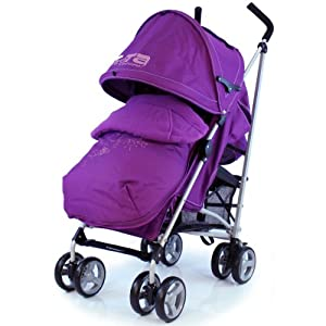 Zeta Vooom Stroller Complete with Foot Muff and Raincover (Plum Hearts and Stars) by Zeta