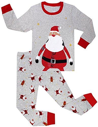 Tkria Bambini Ragazzi a maniche lunghe pigiama di Natale costume di Babbo Natale 4-5 anni