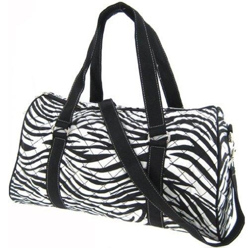 "Large 22"" Quilted Zebra Print Duffle Bag - Black (Black)"