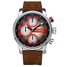 buy Tidoo Watches Mens Sports Military Wrist Watch Japaneses Quartz Movement Analog Dial Staintless Steel Case Brown Leather Band Coffee And Red Face Best Gift For Boy Friend Annivesary