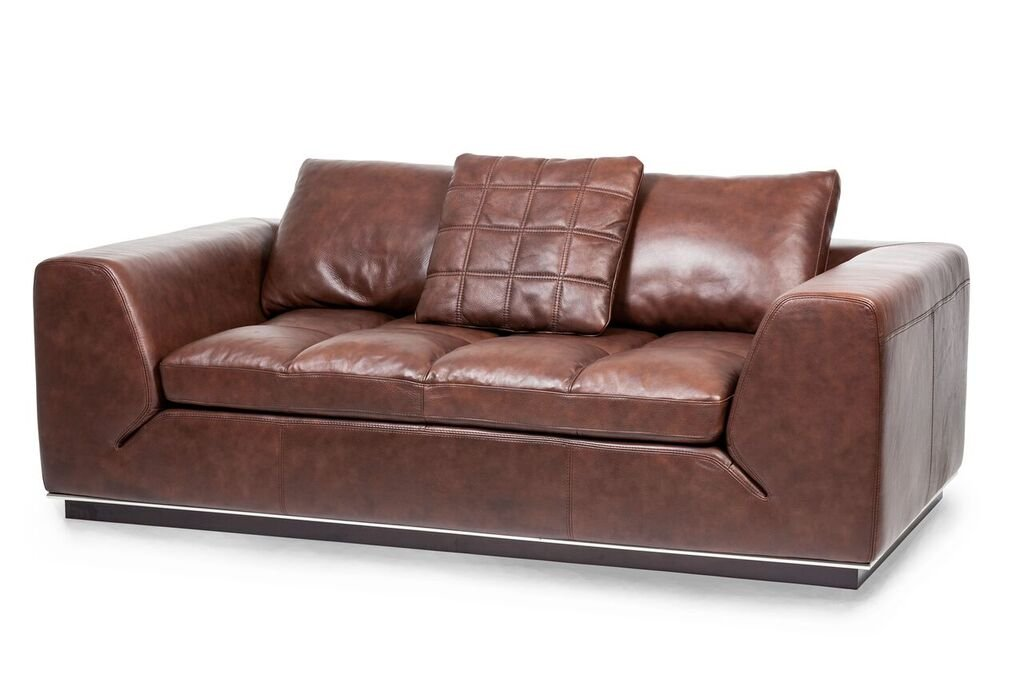 Michael Amini Rosato Leather Loveseat - Cordovan Espresso