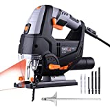 TACKLIFE Advanced 6.7 Amp 3000 SPM Jigsaw with Laser & LED, 6 Blades, 10feet (3M) Cord Length, Pure Copper Motor, Max Bevel Cutting Angle (-45°-45°), Variable Speed, Carrying Case (Color: Black and Orange, Tamaño: 6.7 Amp)