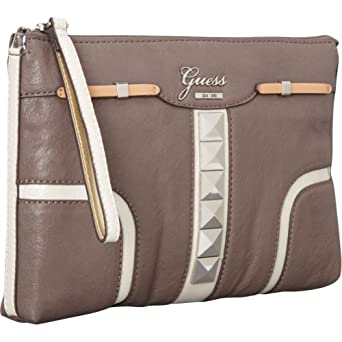 Prices! GUESS Gladis Clutch (Taupe Multi) Clothing ngocngo013