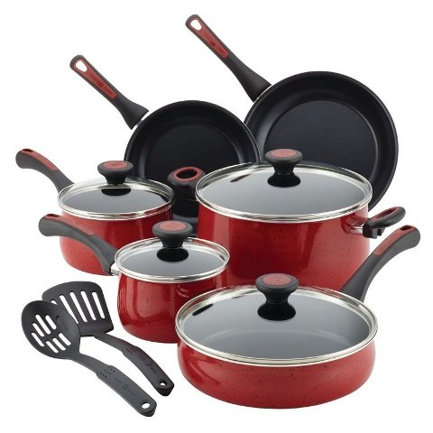 Paula Deen 12 Piece Riverbend Aluminum Nonstick Cookware Set, Red Speckle