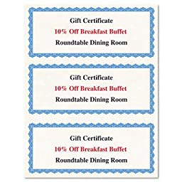 Geographics Gift Certificates, 3 per Page, 8.5 x 11 Inches, Blue Border, 75 per Pack (44570)