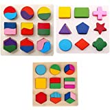 Segolike Kids Baby Wooden Geometry Matching Puzzles Stacking Building Blocks Early Educational Toys Gifts