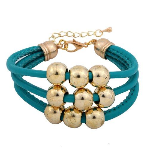 Yazilind Jewelry Amazing Retro Women Cuff PU Leather Bracelet Rose Golden Resin Beads