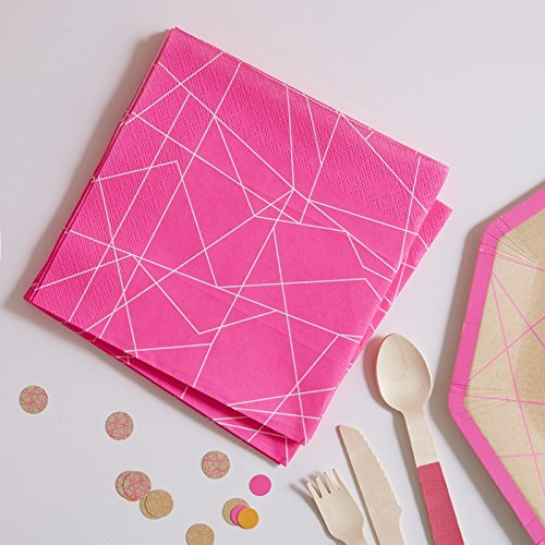 Neon Pink Geometric Paper Napkins X 20 by Ginger Ray