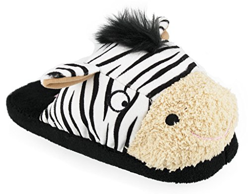 Whimiscal Ladies Animal Character Slip On Fuzzy Plush Slippers, ZEBRA, Size M(6/7)