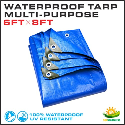 Windscreen4less 6' x 8' Multi-Purpose Waterproof Weather Proof Poly Tarp Cover Tent Shelter Camping Tarpaulin, Blue