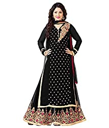shubham creation women's black Hima MF Plazo georgette Dress material