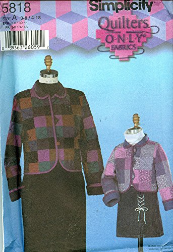 Simplicity 5818 ©2002 Quilters Only Child'S And Misses Quilted Jackets; Sizes Child (22-27) Misses (29.5-40) front-819092