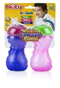 Nuby 2 Count Super Spout Easy Gripper, Colors May Vary, 10 Ounce