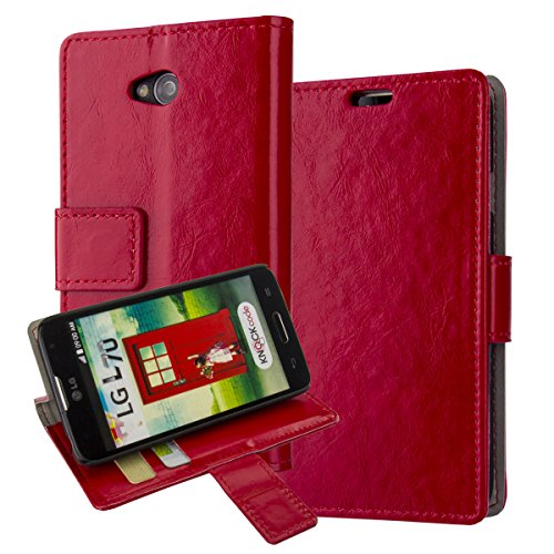 L70 Case,LG Optimus L70 Cover Aomax® Wallet Card Slot View Stand Premium Protective Leather Cover Case+ HD Screen Protector for LG Optimus L70 (MetroPcs/Cricket) / Optimus Exceed 2 W7 (Verizon) / LS620 Realm (Boost Mobile) / L41C Ultimate 2 (Straight Talk) (HDFM Red) (Lg Ultimate 2 Cases compare prices)