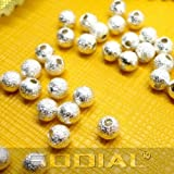 SODIAL(R) 100pcs Spacer Beads Findings Stardust Silver Plated Base Round 4mm for Making