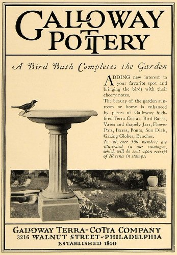 1924 Ad Galloway Pottery Bird Bath Garden Decor Cotta - Original Print Ad