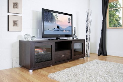 Image of Kathleen Wenge Wood Effect Modern TV Cabinet with Glass Doors (B008LX6WXM)