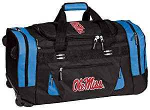 Ole Miss Rolling Duffel Bag College Logo University of Mississippi Duffle Wheeled Travel Gym Bags Luggage Bag with Wheels