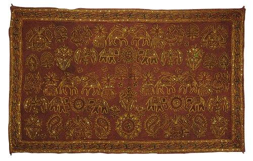Imagen 2 de Indio del bordado tradicional a mano Zari lentejuelas y Wall Hanging Trabajo Algodón Tamaño 54 x 33 pulgadas