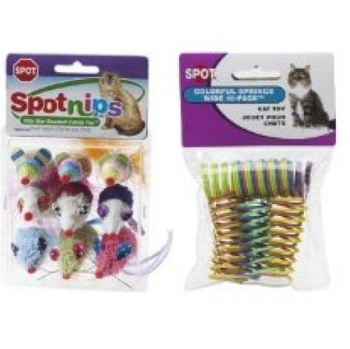 Rainbow Mice Catnip Cat Toy 9 Pack and Colorful Springs Wide 10 Pack