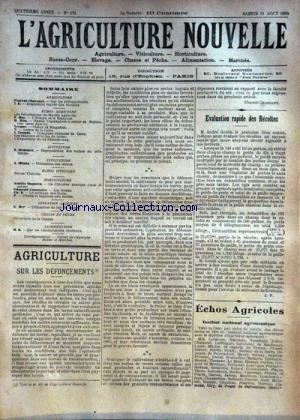 AGRICULTURE NOUVELLE (L') [No 173] du 11/08/1894 - AGRICULTURE PAR CHASSANT - HOC - BLIN - VESQUE - TROUDE - VITICULTURE PAR MUNTZ - HORTICULTURE PAR COUTURIER - MAGNIEN - APICULTURE PAR HOMMEL - INDUSTRIE LAITIERE PAR MER - ALIMENTATION - CHAMPIGNONS VENENEUX gratuit
