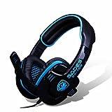 SADES SA-708 Stereo Headphone Computer Gaming Headset Headphone Earset Earphone with Microphone Black / Blue