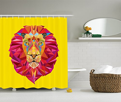 Colorful Zoo Decor Collection, African Animals Geometric Diamond Face and Lions Mane Design, Polyester Fabric Bathroom Shower Curtain Set with Hooks, Magenta Orange