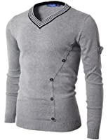 Doublju Mens V-Neck Sweater with Tipping