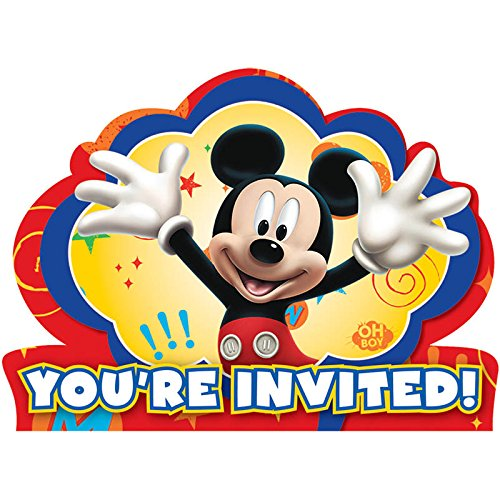 8-Count Mickey Invitations with Sticker Seals - 1