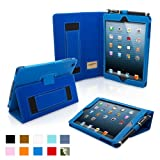 Snugg iPad Mini Leather Case Cover and Flip Stand with Elastic Hand Strap and Premium Nubuck Fibre Interior (Electric Blue) - Automatically Wakes and Puts the iPad Mini to Sleep
