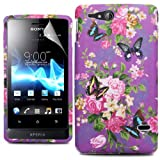 Cooltechstuff Purple Green Flower Butterfly Silicone Gel Soft Case Cover And Skin For Sony Ericsson Xperia Go ST27i + Free Screen Protector Included
