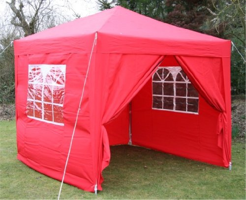 2.5x2.5mtr RED Pop Up Gazebo, FULLY WATERPROOF with Four Side Panels and Carrybag