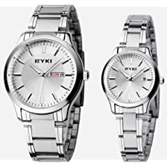 EYKI 8598-S01 Couple Watches Quartz Waterproof Wristwatches for Lovers Pair in Package Silver Dial and Stainless Steel Band