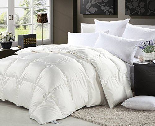 LUXURIOUS 1500 Thread Count Queen Size GOOSE DOWN Comforter 750FP, 50 oz Fill Weight, White Solid 1500 TC 100% Egyptian Cotton