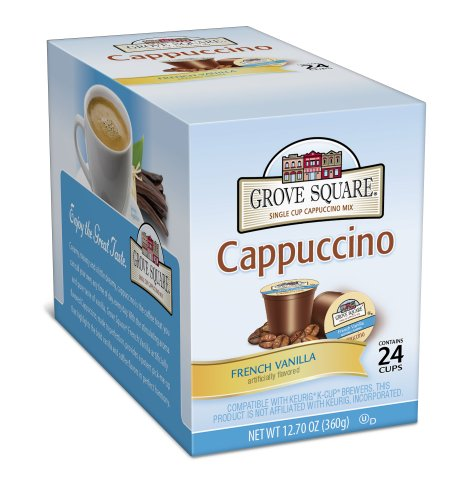 Buy Grove Square Cappuccino, French Vanilla, 24-Count Single Serve Cup for Keurig K-Cup...