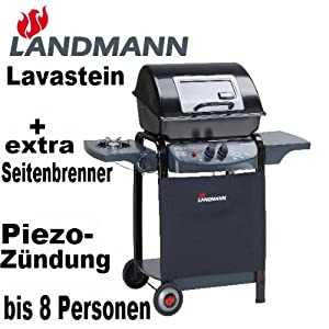 landmann lavastein piezo gasgrill mit zus tzl seitenbrenner sichtfenster und seitenablage. Black Bedroom Furniture Sets. Home Design Ideas