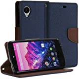 GMYLE(R) Blue and Brown PU Leather Magnetic Protective Flip Folio Slim Wallet Purse Stand Case Cover for Google LG Nexus 5