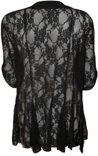 WearAll Women's Lace Open Cardigan - Black - US 12 (UK 16)